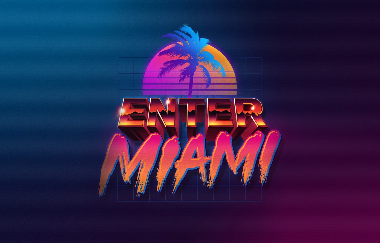 Wallpaper Music Miami Neon Enter 80 S Synth Retrowave