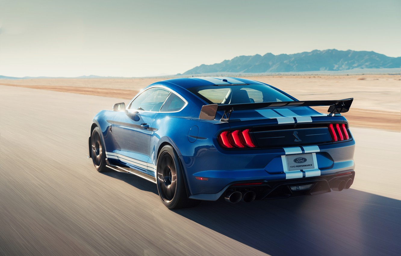 Photo wallpaper machine, asphalt, strips, blue, style, coupe, speed, lights, Ford Mustang Shelby GT500