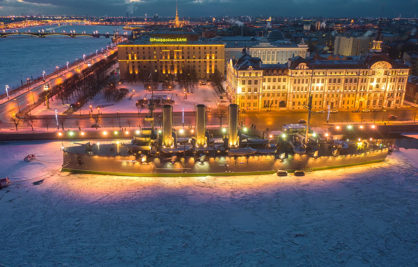 Photo wallpaper winter, snow, the city, river, ship, building, home, the evening, Peter, lighting, Saint Petersburg, monument, …