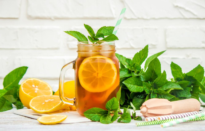 Wallpaper Lemon Tea Bank Ice Drink Mint Images For Desktop