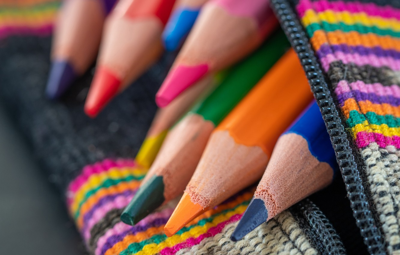 Photo wallpaper macro, color, pencils