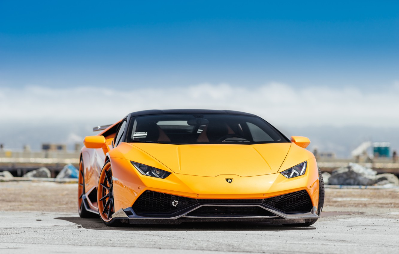 Photo wallpaper Lamborghini, Orange, Italy, VAG, Sight, Front, Hyuracan