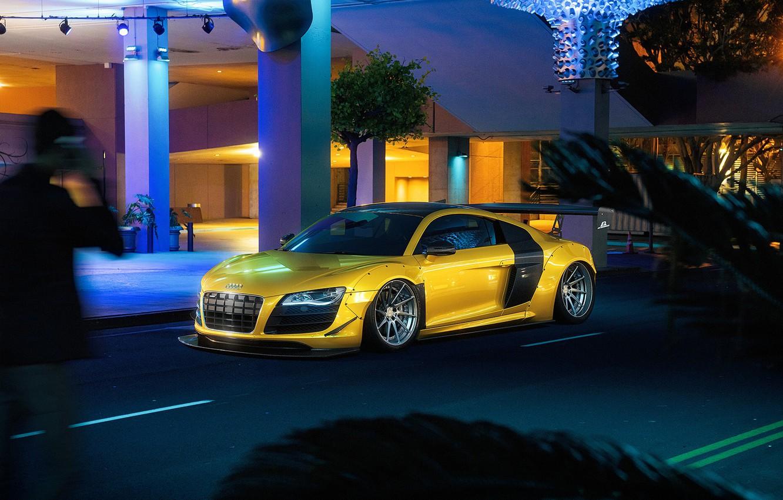 Photo wallpaper Audi, Auto, Night, Yellow, Machine, Audi R8, Car, Car, Render, Rendering, Sports car, Yellow, Transport …