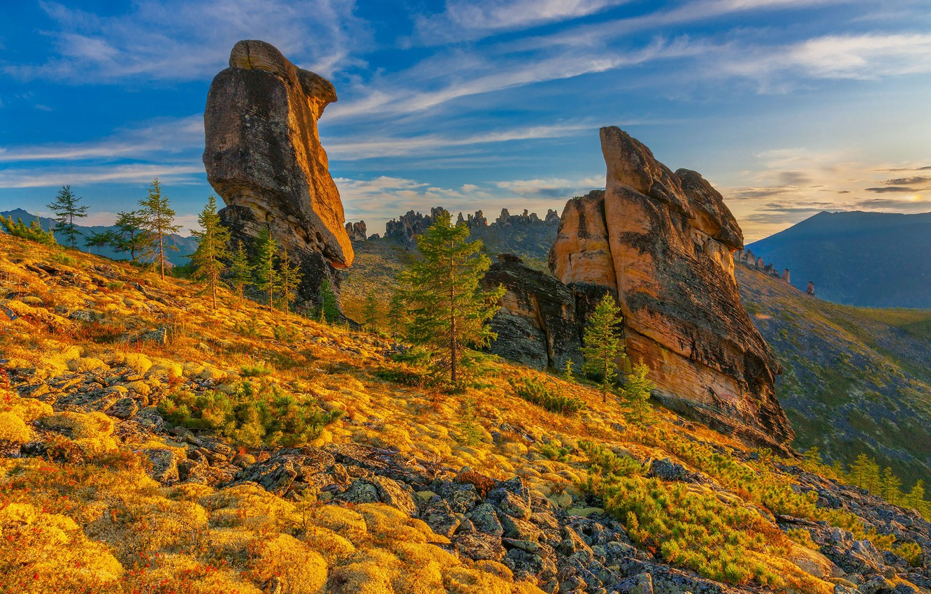 Photo wallpaper autumn, the sky, mountains, stones, rocks
