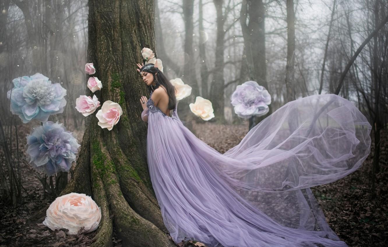 Photo wallpaper forest, girl, flowers, tree, elf, dress, fantasy