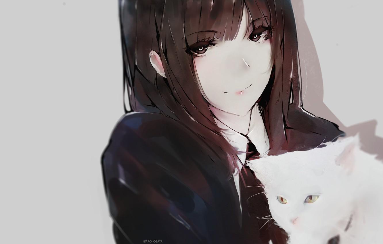 Photo wallpaper face, schoolgirl, grey background, long hair, art, bangs, white kitten, Aoi Ogata