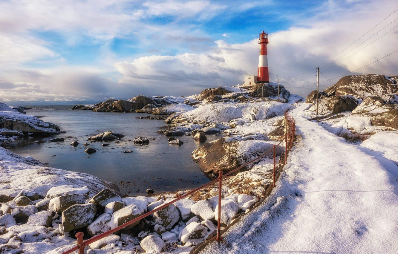 Photo wallpaper shore, lighthouse, Norway, Rogaland, Midtbrød
