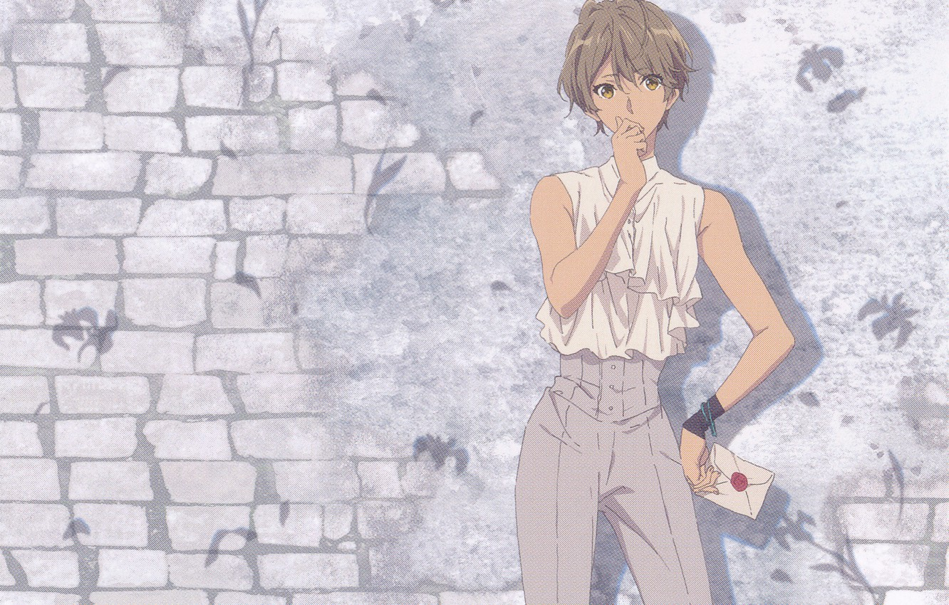 Photo wallpaper letter, pants, brick wall, violet evergarden, by Akiko Takase, Iris Cannary