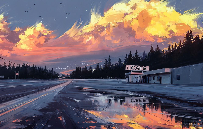 Photo wallpaper road, sunset, figure, art, Horizon, landscape, art, cafe, Aenami, by Aenami, Alena Aenam The, 2019, …