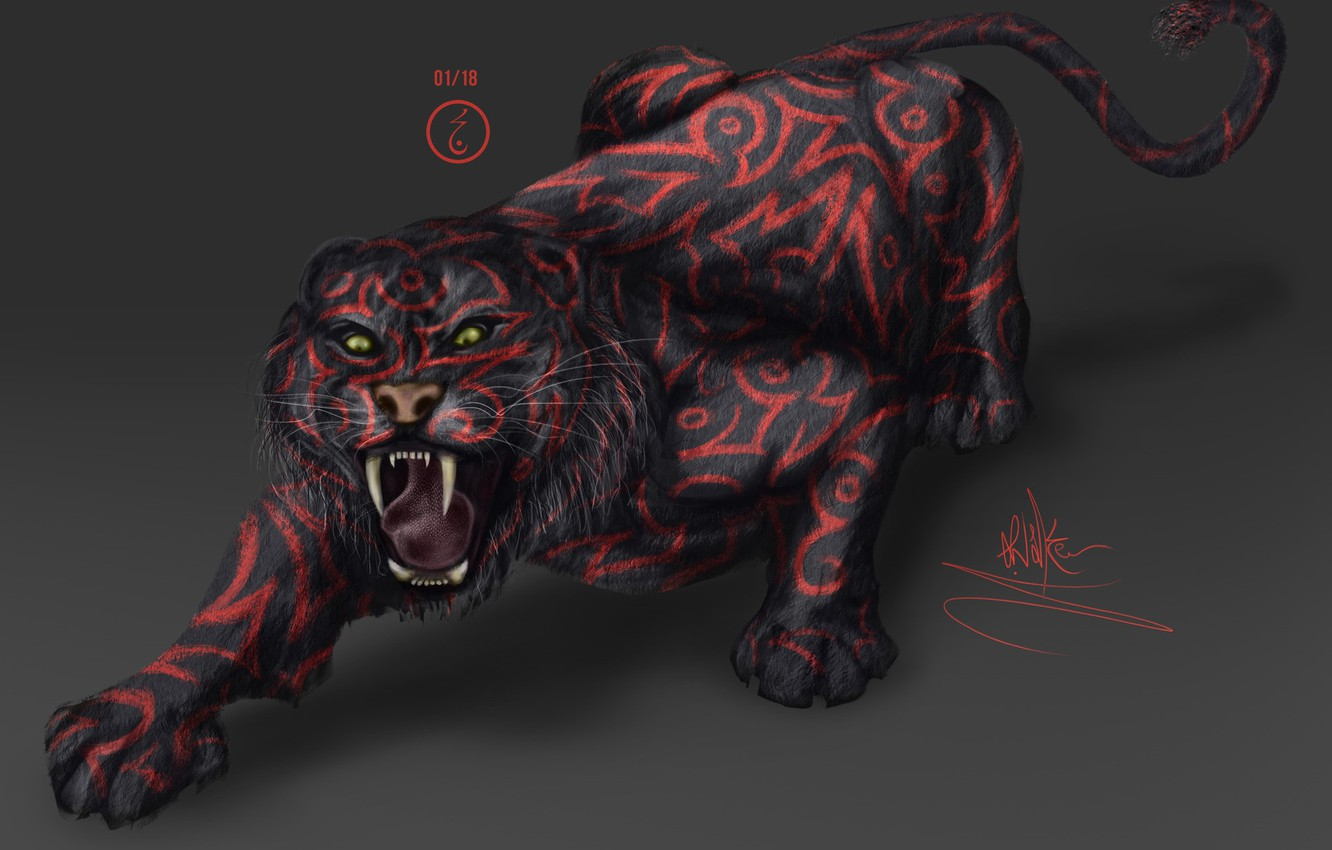 Photo wallpaper tiger, fear, predator, mouth, claws, fangs, grin, Sabretooth, in the dark