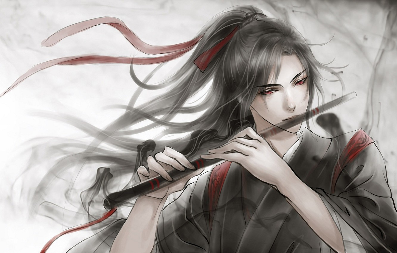 Photo wallpaper grey background, flute, red eyes, long hair, red ribbon, black magic, Chinese clothing, Mo Dao …