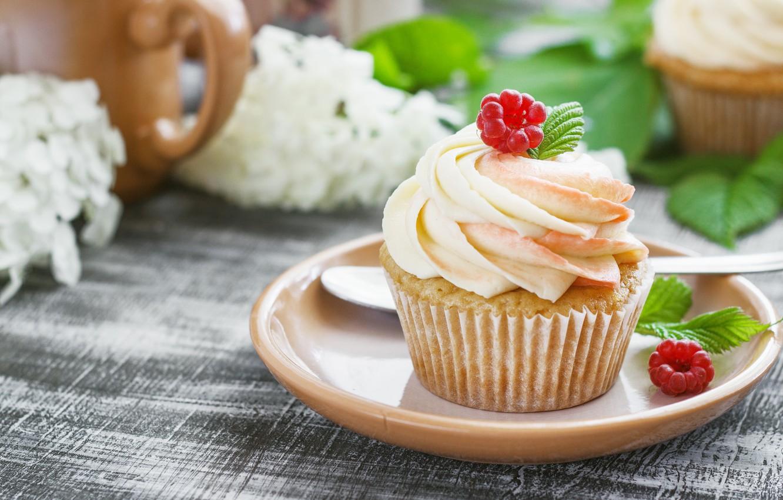Photo wallpaper cream, dessert, cupcakes, vanilla