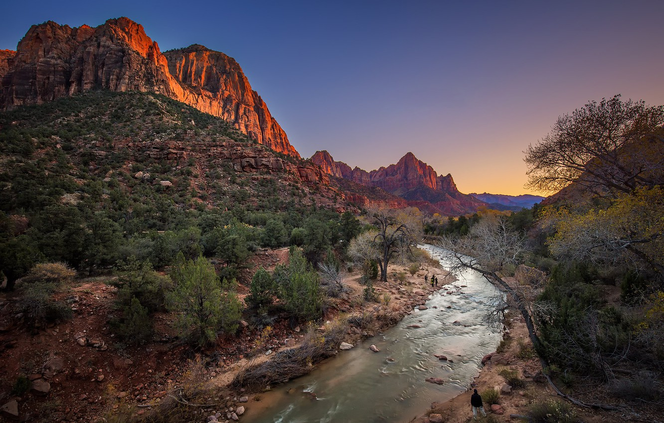 Photo wallpaper mountains, river, rocks, Utah, USA, Zion National Park, Zion national Park