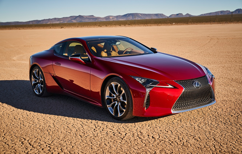 Photo wallpaper car, machine, desert, Lexus, red, car, Lexus LC 500