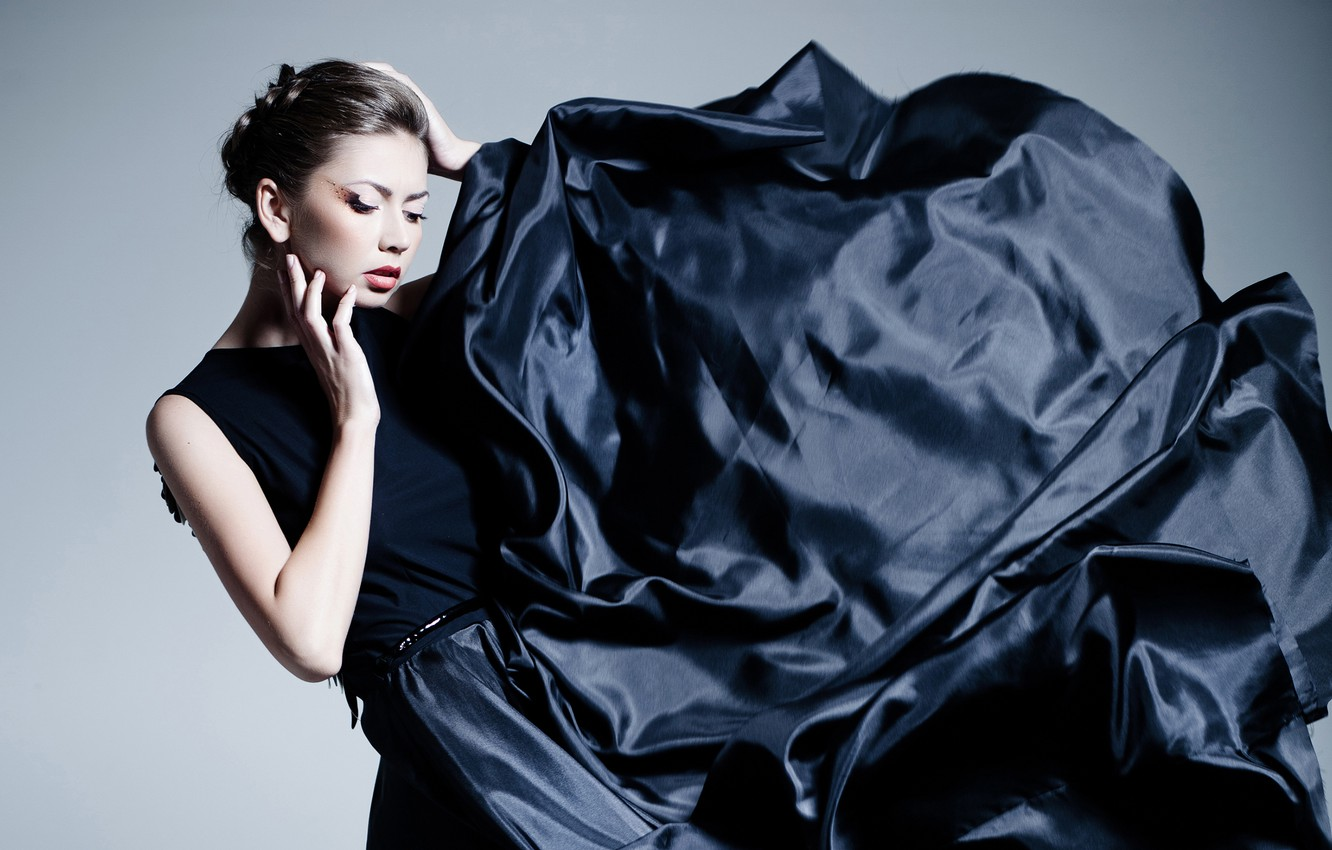 Photo wallpaper pose, background, makeup, dress, brunette, hairstyle, outfit, fabric, beauty, in black