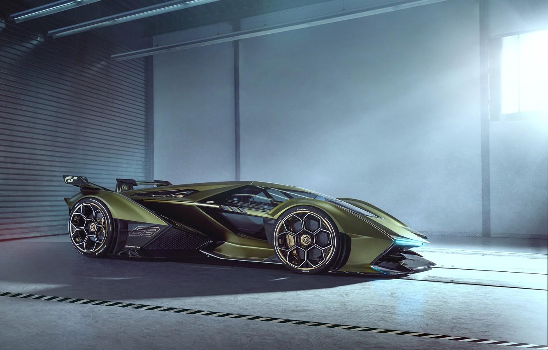 Photo wallpaper Lamborghini, Headlight, The concept car, Lambo, Drives, V12, Brake disc, Wing, Vision Gran Turismo, 2019, …