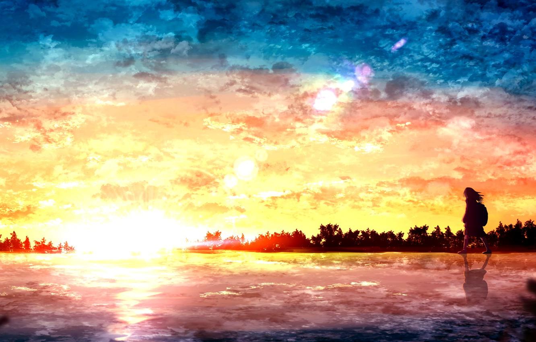 Photo wallpaper sunset, girl, pond