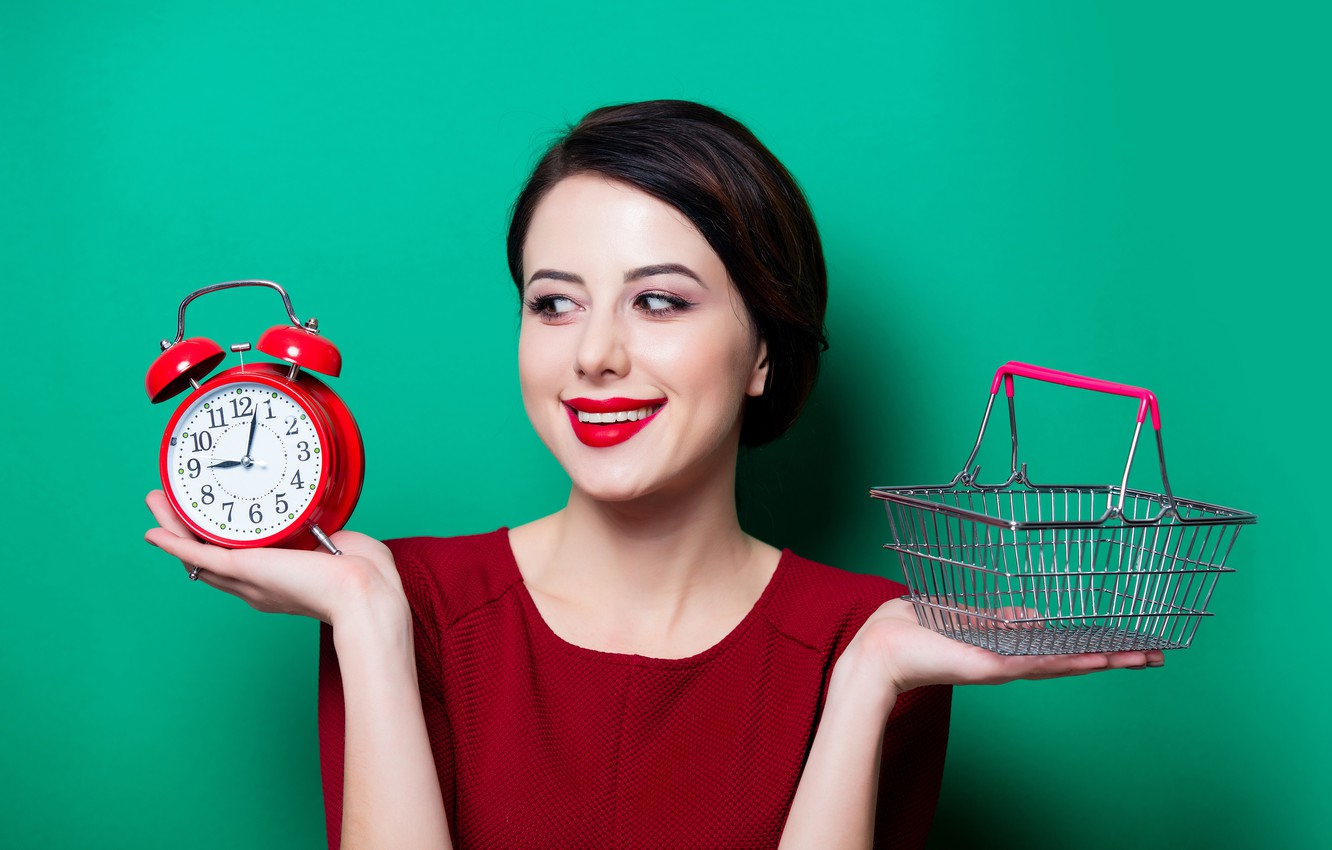Photo wallpaper girl, pose, smile, background, basket, watch, hands, makeup, brunette, alarm clock, hairstyle, green, in red