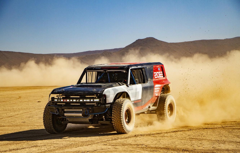 Photo wallpaper sand, movement, Ford, dust, 2019, Bronco R Race Prototype