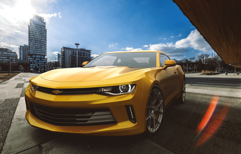 Photo wallpaper Auto, Yellow, Chevrolet, Machine, Camaro, Camaro SS, Chevrolet Camaro, Rendering, The front, Chevrolet Camaro SS, ...