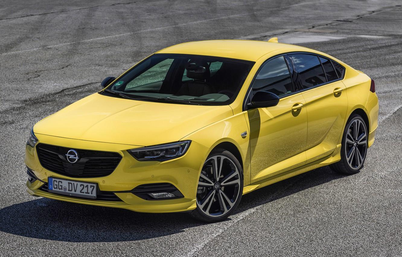 Photo wallpaper asphalt, yellow, Insignia, Opel, 2018, Insignia Grand Sport