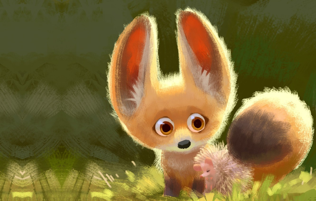 Photo wallpaper art, Fox, friends, hedgehog, children's, Lynn Chen, Cuddle