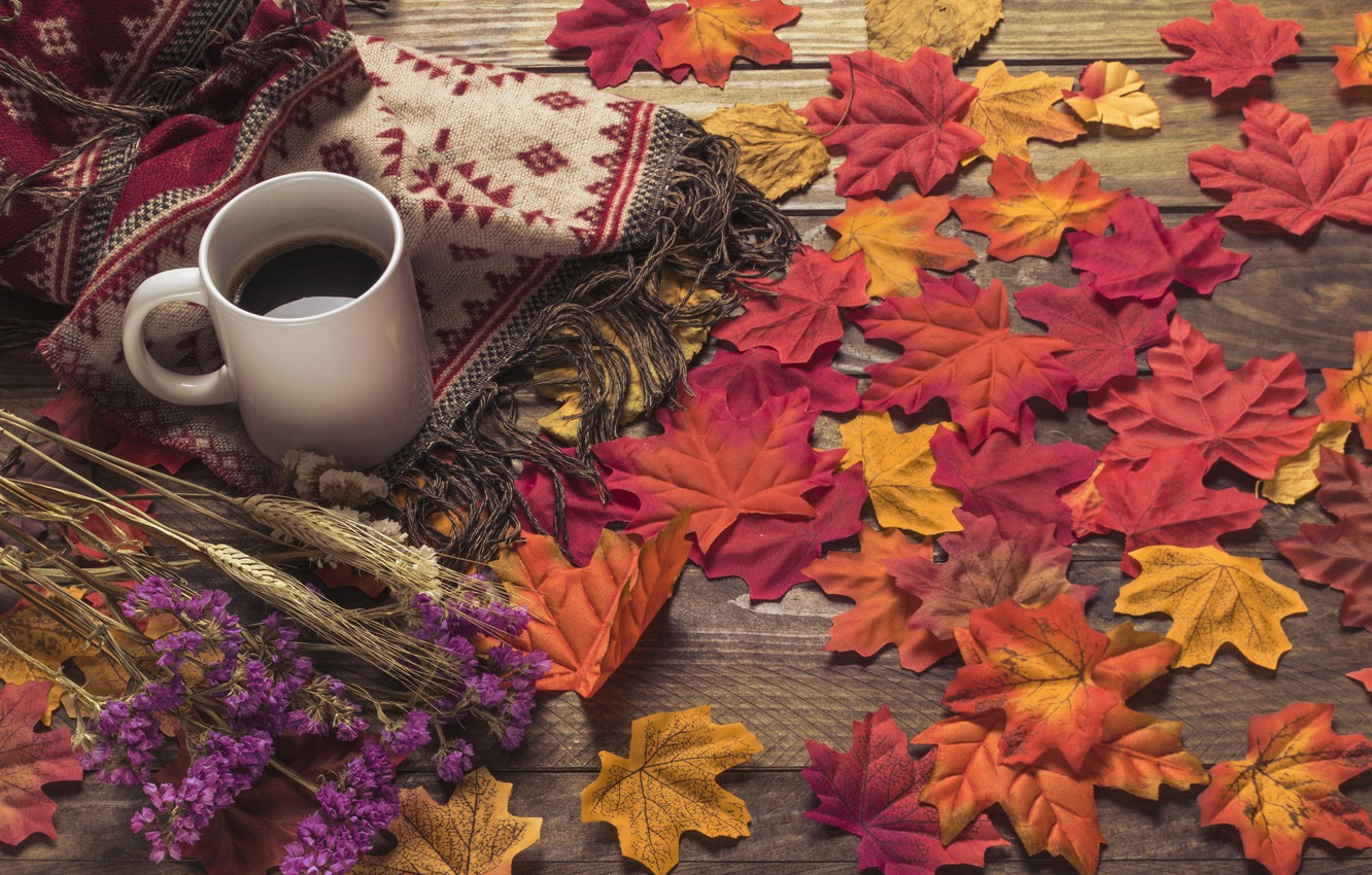Photo wallpaper autumn, leaves, flowers, background, tree, coffee, colorful, scarf, Cup, wood, background, autumn, leaves, cup, coffee, …