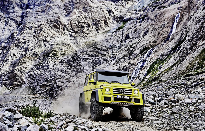 Photo wallpaper Concept, yellow, rocks, Mercedes-Benz, Mercedes, BRABUS, 4x4, AMG, Benz, W463, 2015, G 500