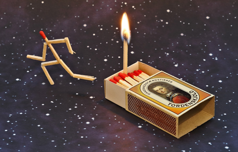 Photo wallpaper fire, matches, fire, escape, escape, matches, Udo Dittmann