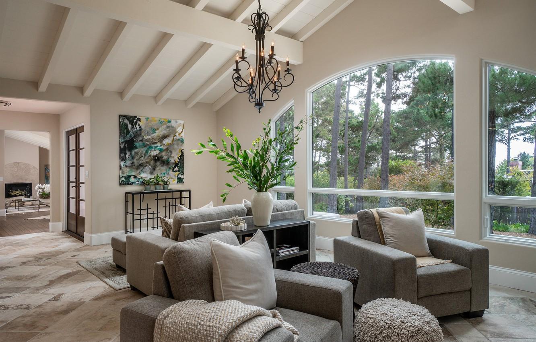 Photo wallpaper furniture, Windows, chandelier, sofas, living room
