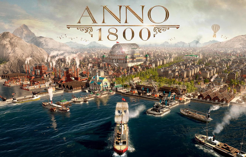 Photo wallpaper sea, the city, ships, simulator, Gamescom 2018, Anno 1800, The year 1800
