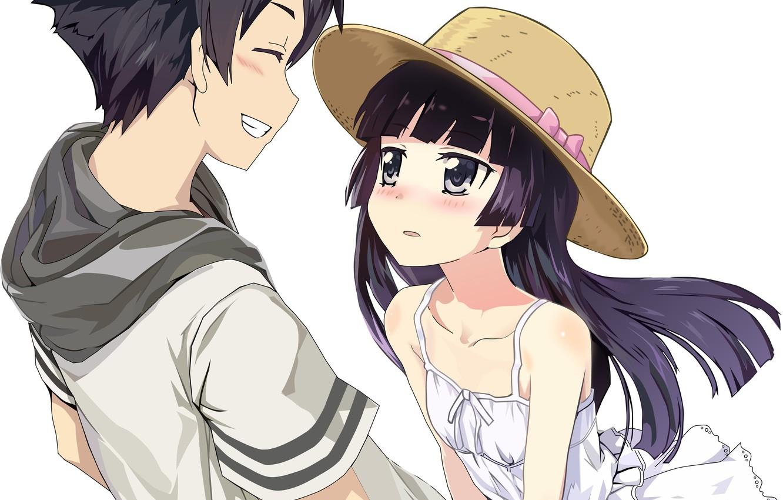 Photo wallpaper girl, romance, anime, art, guy, Oreimo
