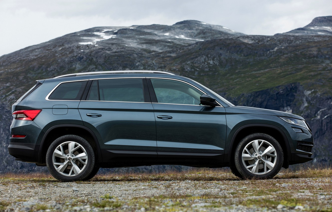 Photo wallpaper mountain, profile, SUV, Skoda, Skoda, 2016, Kodiaq