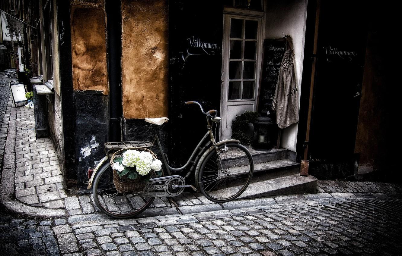 Photo wallpaper flowers, bike, the city, street, basket, building, bridge