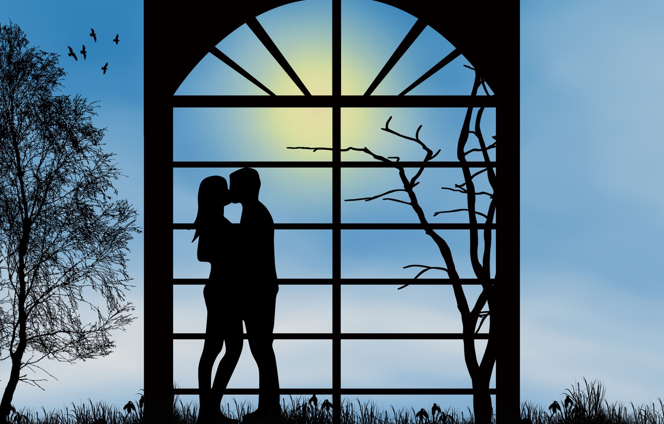 Photo wallpaper love, romance, kiss, the evening, pair, relationship, silhouettes, date