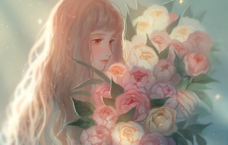 Photo wallpaper flowers, figure, long hair