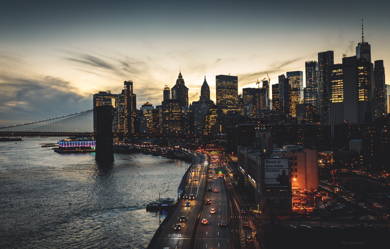 Photo wallpaper road, machine, the city, street, building, skyscrapers, the evening