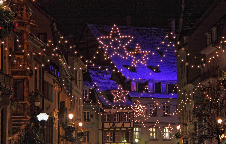 Photo wallpaper lights, France, Christmas, garland, Strasbourg