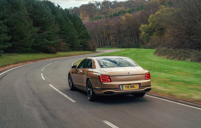 Photo wallpaper Bentley, Flying Spur, 2020, V8, 2021, before turning, Flying Spur V8