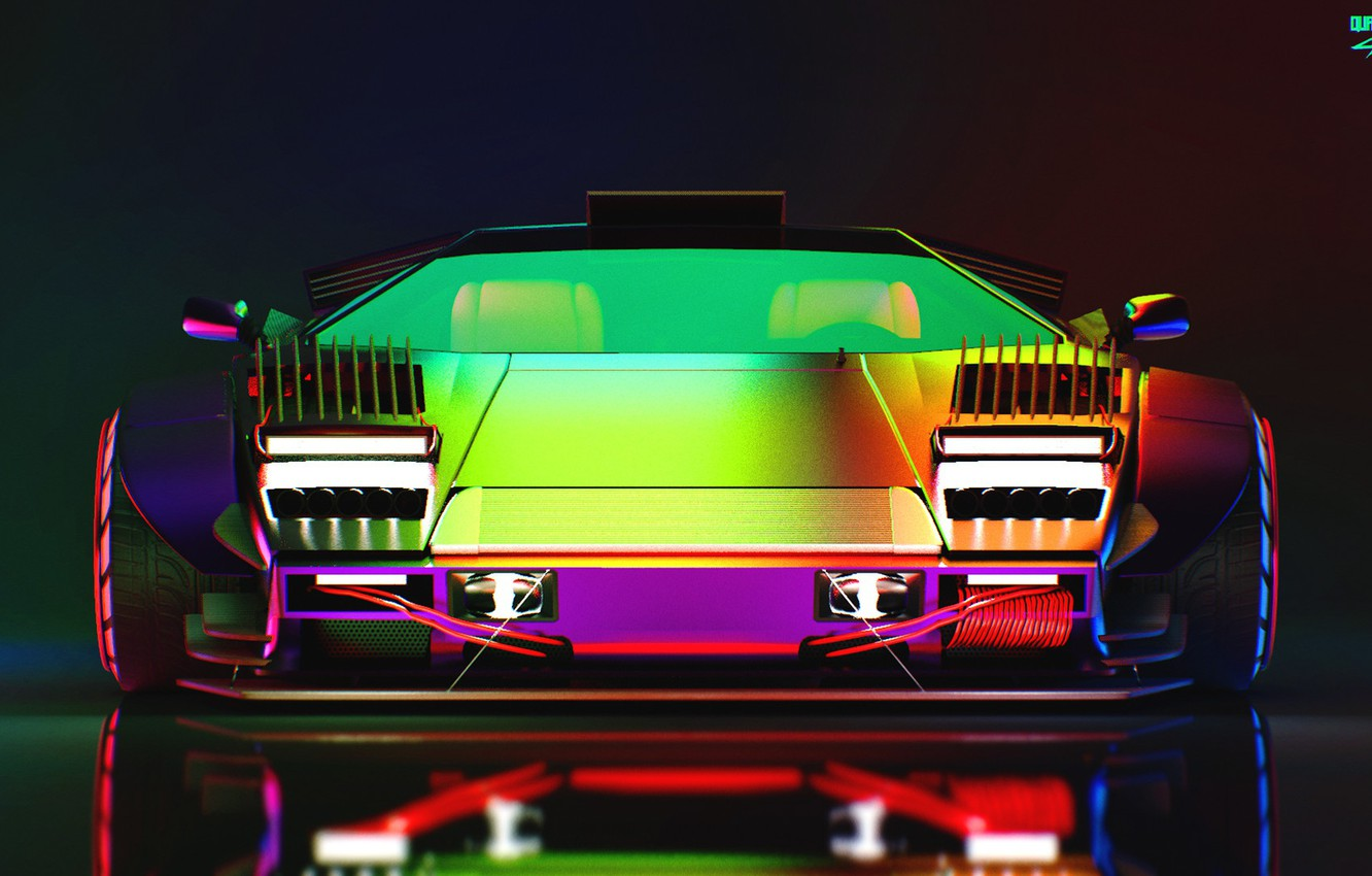 Wallpaper Auto, Lamborghini, Neon, Machine, Lights, Car, Art