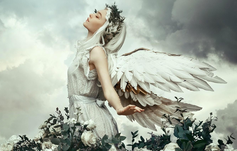 Photo wallpaper girl, nature, angel