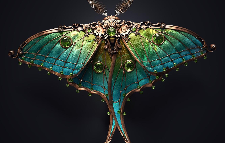 Photo wallpaper minimalism, butterfly, artist, rendering, digital art, artwork, black background, insect, jewel, copper, emeralds, Sasha Vinogradova