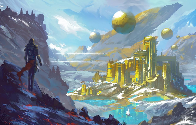 Photo wallpaper fantasy, river, sky, landscape, nature, science fiction, mountains, snow, tree, spaceship, sci-fi, Temple, ship, digital …