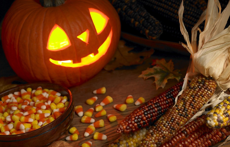Photo wallpaper Halloween, holidays, sweets, pumpkin, glowing eyes