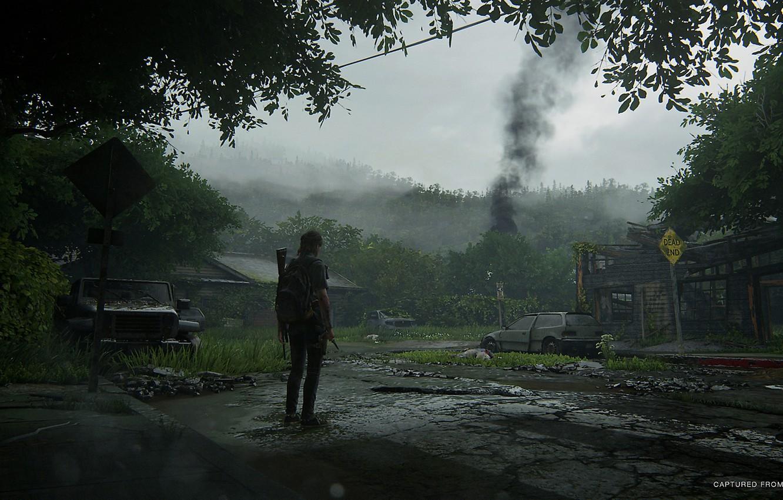 Photo wallpaper forest, machine, smoke, village, art, Ellie, The Last of Us Part II