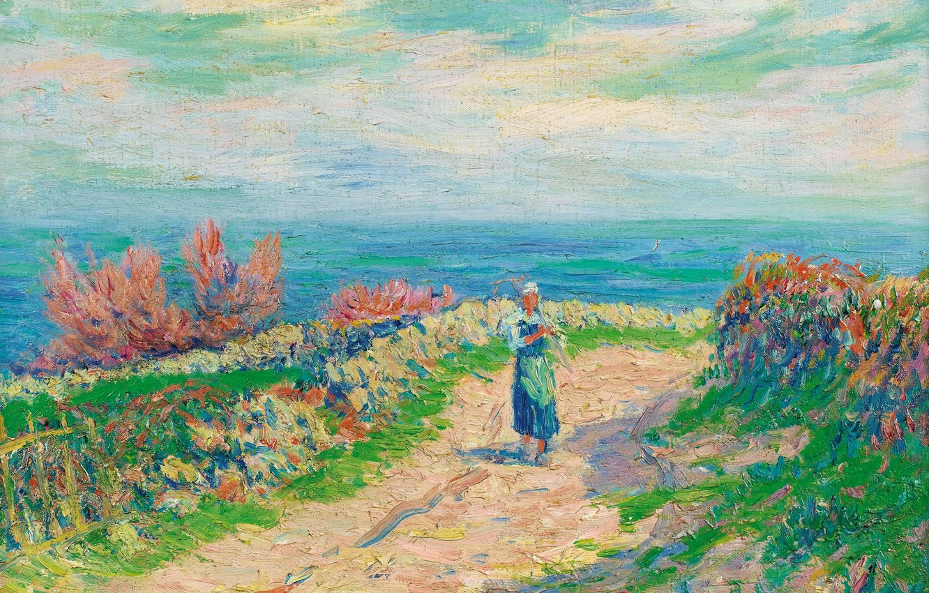 Photo wallpaper landscape, picture, Henri Sea, Henry Moret, The road by the Sea