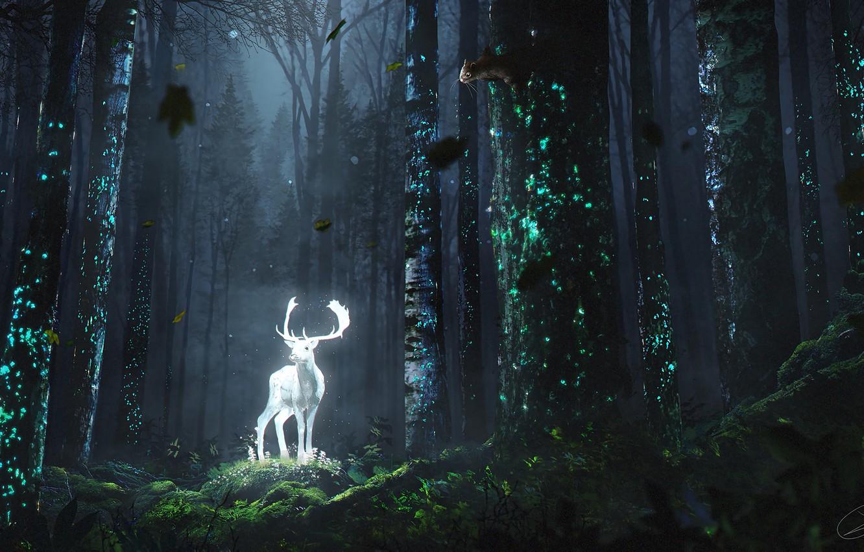 Photo wallpaper fantasy, forest, horns, trees, digital art, artwork, bright, fantasy art, chipmunk, Deer, undergrowth