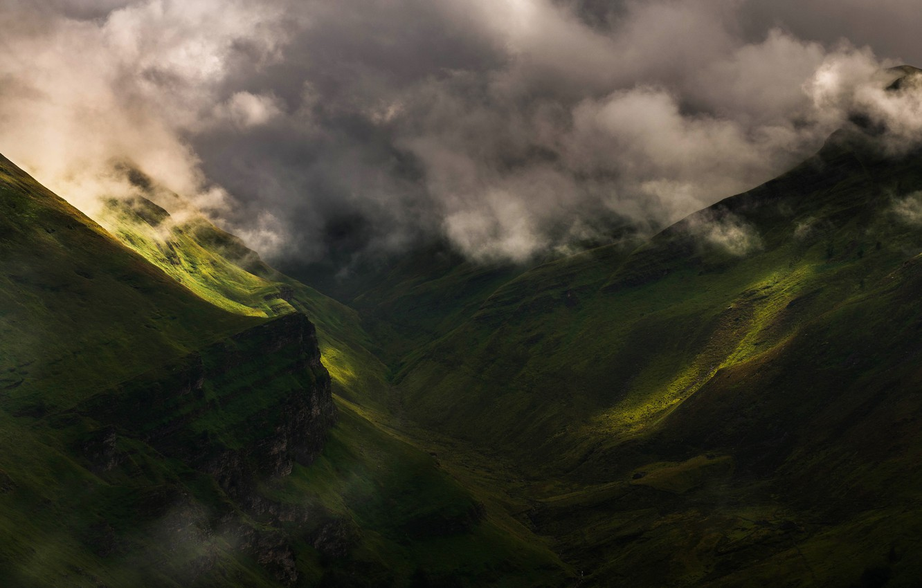 Photo wallpaper summer, clouds, light, mountains, fog, hills, the slopes, morning, green, haze, cloudy