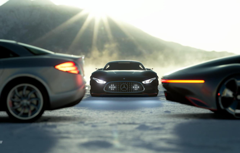 Photo wallpaper Concept, McLaren, SLR, Auto, Black, The game, Japan, Machine, Mercedes, Benz, Lights, Vision, Race, Mercedes …