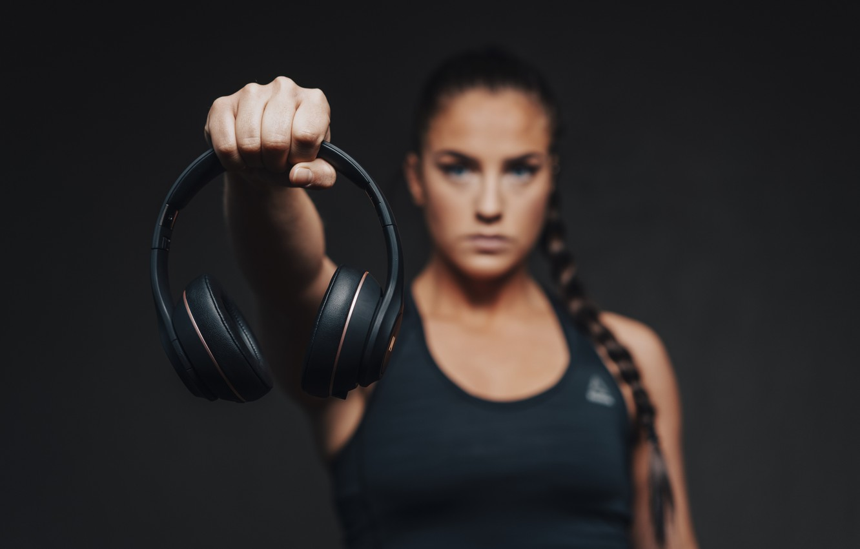 Photo wallpaper woman, headphones, hand